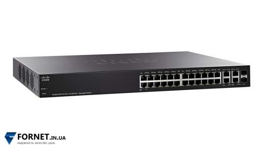 Коммутатор Cisco Small Business SF300-24 (SRW224G4 / Layer 3, 24x RJ-45, 2x Gigabit RJ-45, 4x Gigabit Combo)